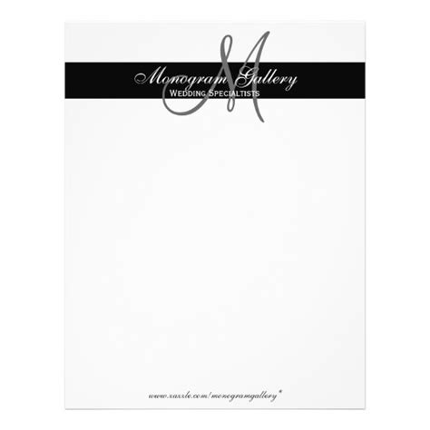 elegant black and white monogram letterhead zazzle