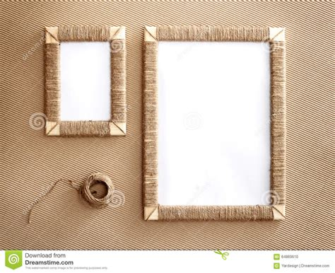 Handmade Photo Frames Images - two handmade photo frames braided jute against corrugated