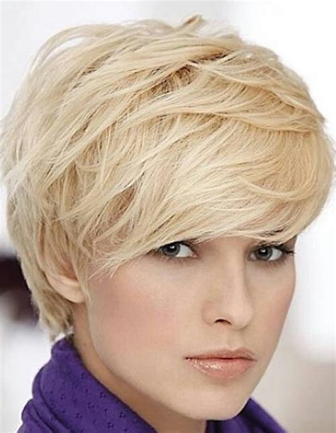 haircuts blonde thick hair cute short blonde hairstyle with bangs for thick hair
