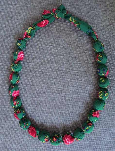 Handmade Fabric Necklaces - handmade fabric beaded necklace wooden in green