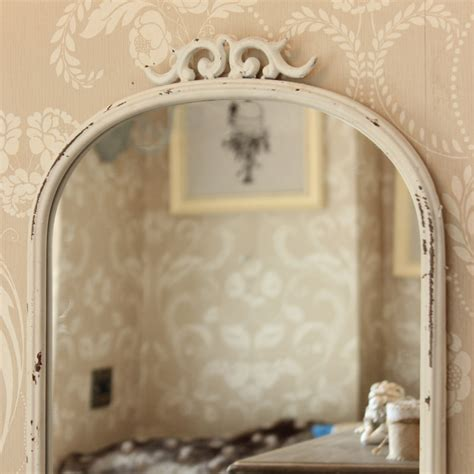 antique style mirror with shelf distressed metal scroll