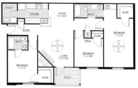 3 bed floor plans house plans for pretentious bedroom home one also 3 open