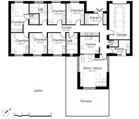 plan de chambre plan maison plain pied 6 chambres ooreka de newsindo co