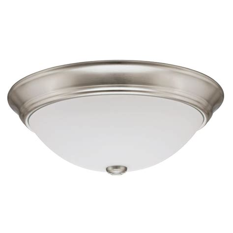 Lithonia Lighting Essentials 10 In Brushed Nickel Led Home Depot Flush Ceiling Lights