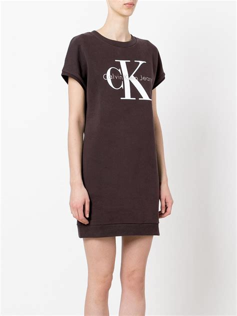 The Shirt Dress Calvin Klein by Calvin Klein Iconic Logo T Shirt Dress In Gray Lyst