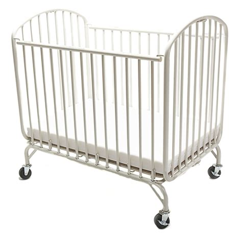 La Baby Compact Metal Arched Folding Crib White La Baby Portable Crib