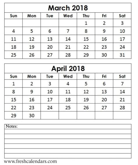 printable calendar march april 2018 march 2018 printable calendar templates