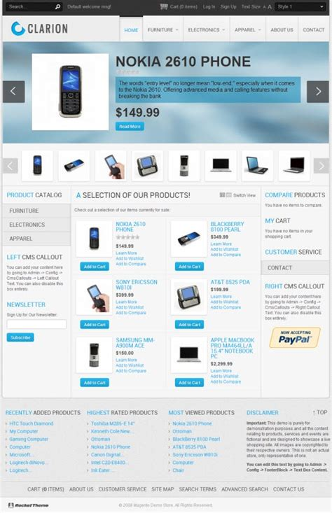 clarion templates clarion magento template from rockettheme