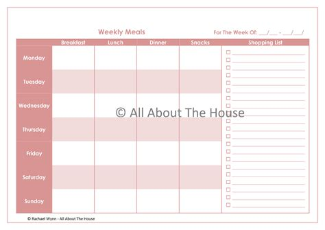 printable weekly planner cards 8 best images of weekly meal planner printable with 6
