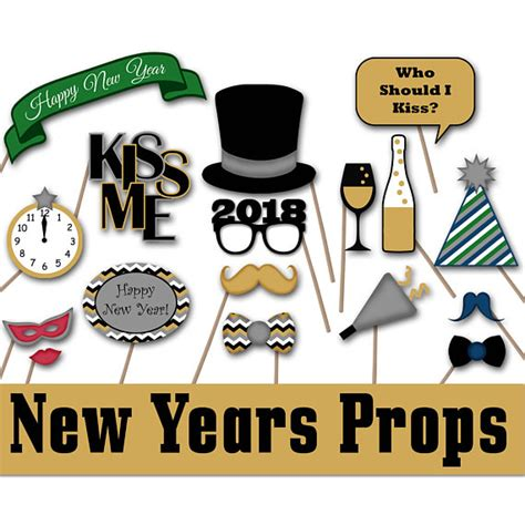new years photo booth props 2018 printable new years