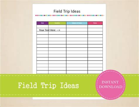 field trip lesson plan template field trip ideas homeschool planner field trip
