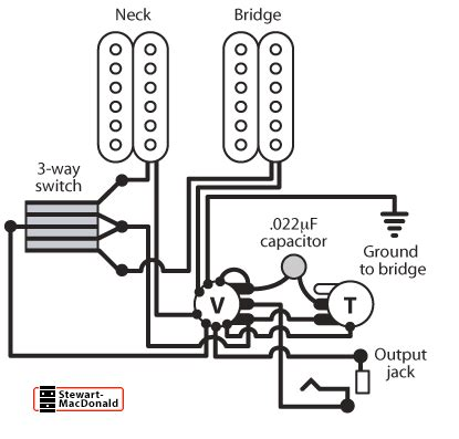 2 humbuckers 1 vol 1 tone 3 way switch wiring help