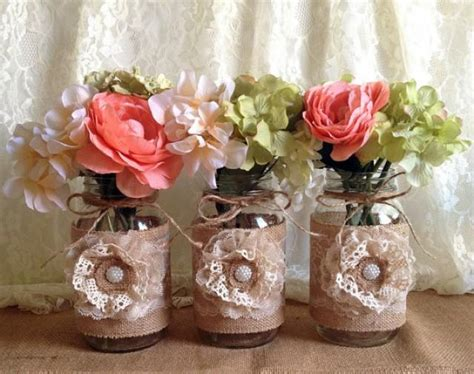 Jar Baby Shower Decorations by 3 Rustic Burlap And Lace Covered Jar Vases Wedding