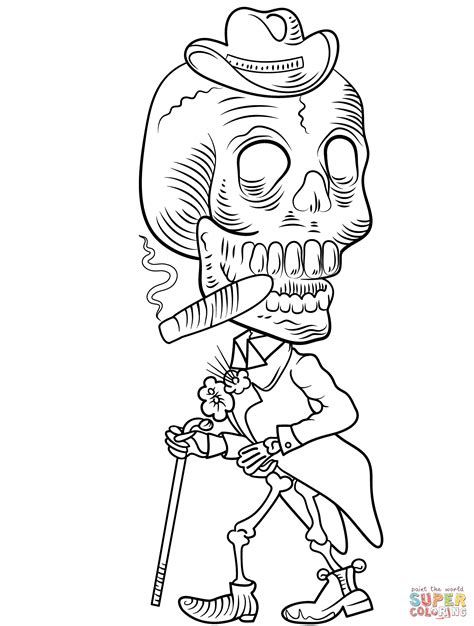 skeleton day of the dead coloring pages day of the dead skeleton coloring page free printable