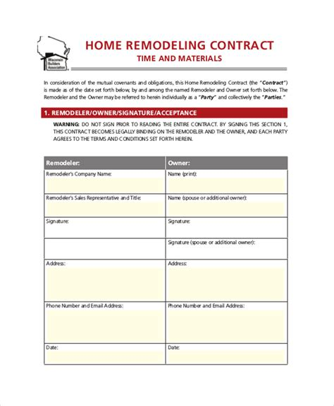 28 Contract Templates Free Sle Exle Format Free Premium Templates Free Home Remodeling Contract Template