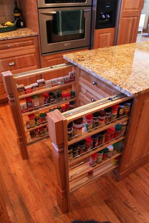 Kitchen Cabinet Spice Rack Pull Out Hidden Kitchen Pull Out Storage Shelves In The Island