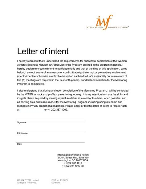 Letter Of Intent On A Veterinary Internship Letter Of Intent Sle Free Sle Letter Of Intent Template