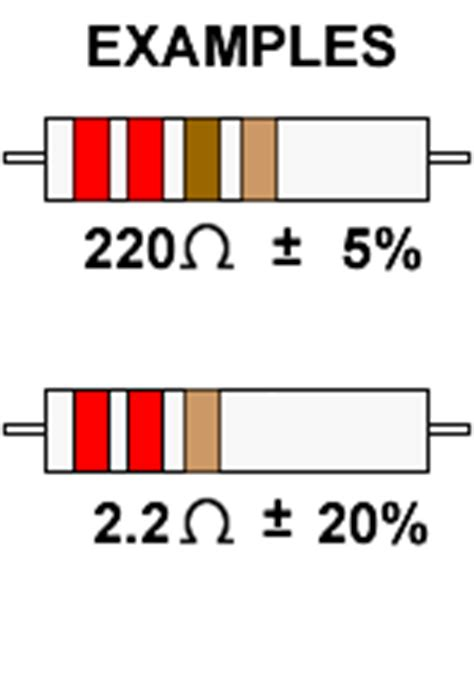 resistors color code exles electrical electronic resistor color codes