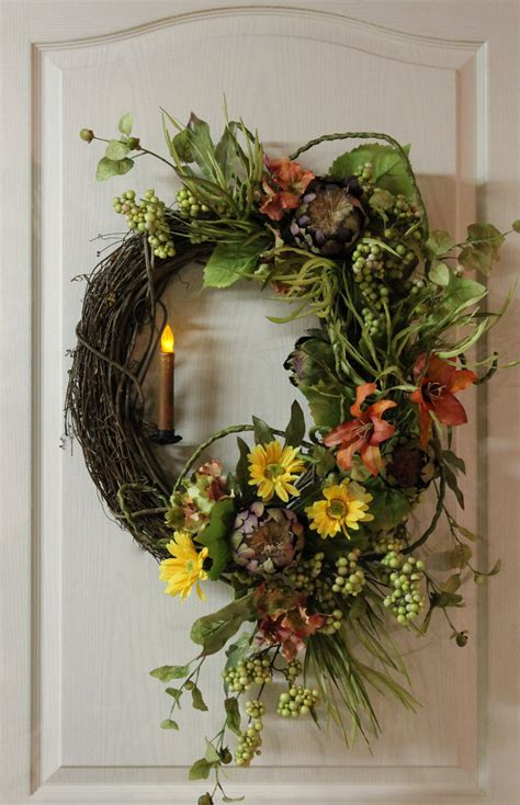 Country Wreaths For Front Door Items Similar To Front Door Wreath Country Candle Wreath Summer Wreath Fall Wreath Country