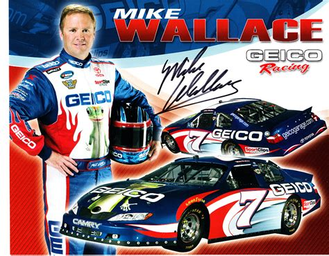 racing autograph card template mike wallace autographed geico racing 8x10 nascar photo