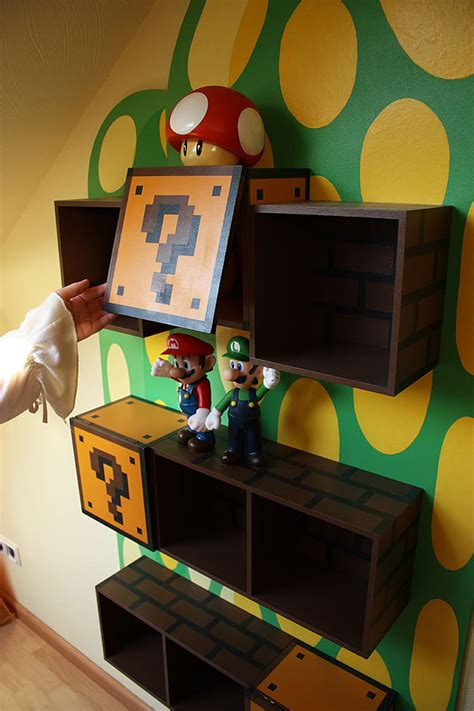mario themed bedroom cool kids bookshelves for mario themed room kidsomania