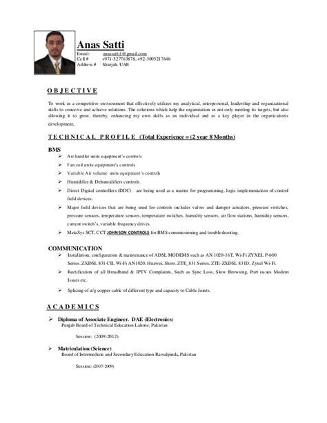 Sle Resume Of Bms Technician Bms Engineer