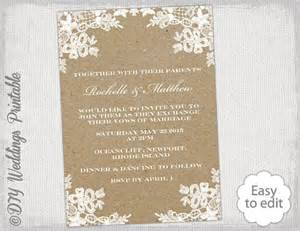 rustic wedding invitation template diy rustic lace