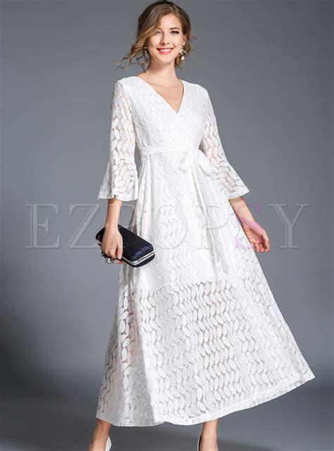 Flare Sleeve V Neck Lace Dress white v neck flare sleeve lace maxi dress ezpopsy