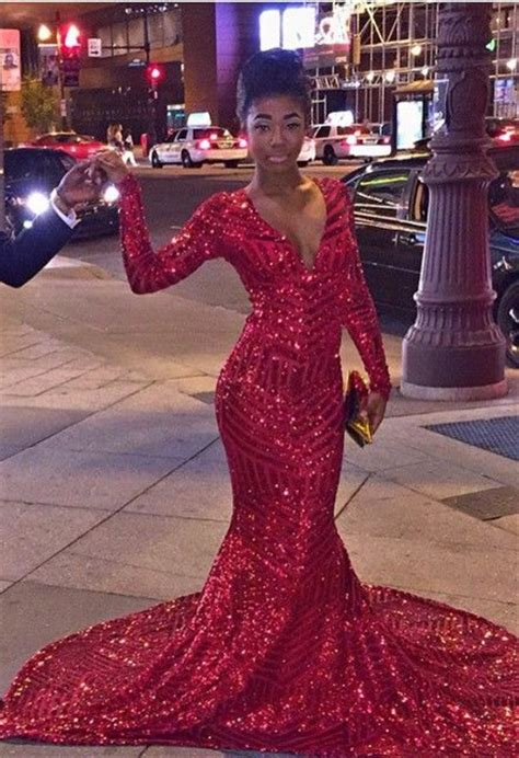 my african eveningoccasion gowns fashion training fashion 8 sexy red v neck sequins prom dresses 2018 long sleeve