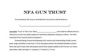 Nfa Trust Template by National Firearms Act Trust Forms Nfa Gun Trust