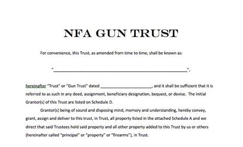 nfa trust template national firearms act trust forms nfa gun trust