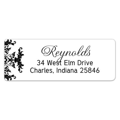 Decorative Printable Address Labels | black and white decorative framed return address labels
