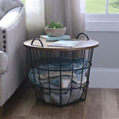 wire basket side table industrial wire and wood basket side table industrial