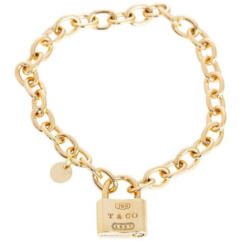 Tiffany And Co Gold 1837 Padlock Charm Chain Link, Tiffany Bracelet Chain   Sass Experience