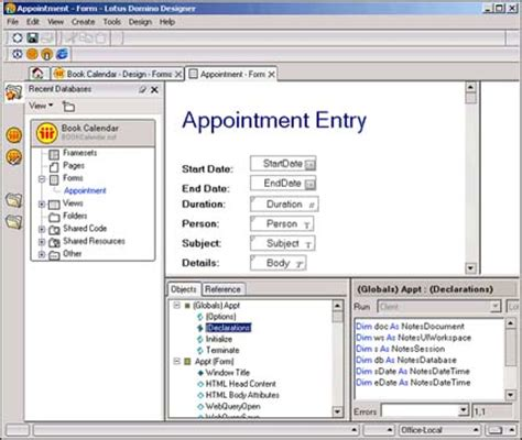 lotus application building lotus notes domino calendar applications