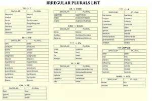 geography irregular plurals of nouns