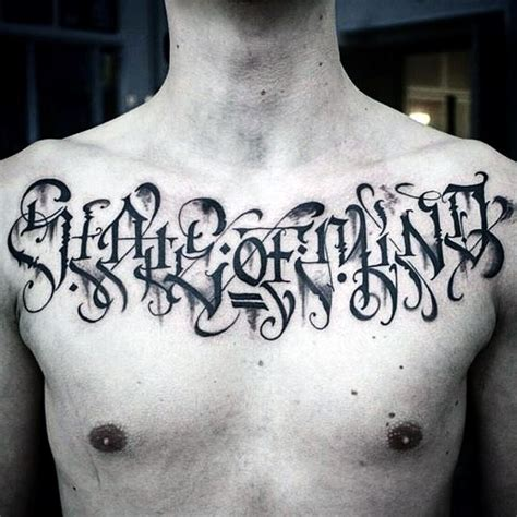 chest lettering tattoo designs 90 script tattoos for cursive ink design ideas