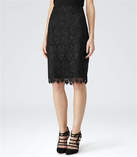 orta black lace pencil skirt reiss