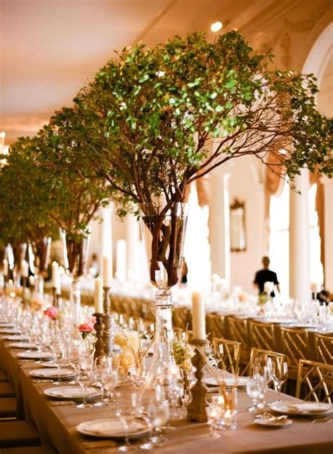 tree wedding centerpieces manzanita wood branches decoration style not flowers but ginormous green branches beautiful