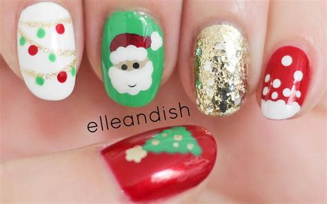 easy nail art for xmas easy christmas nails freehand youtube