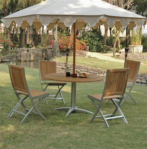 Houzz Outdoor Dining Room Teak And Alloy Table Patio Dining Set Bf1355