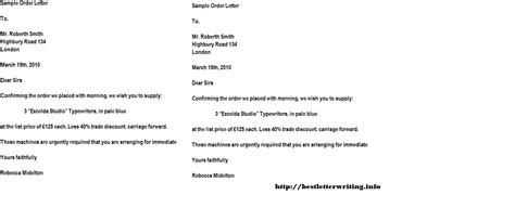 Purchase Order Application Letter Order Letters Business Letter Exles