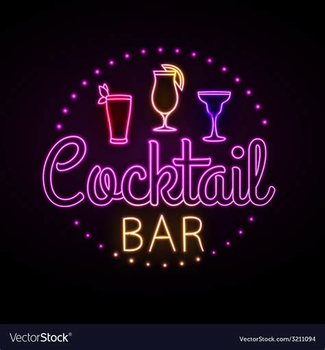 martini bar sign neon sign cocktail bar royalty free vector image