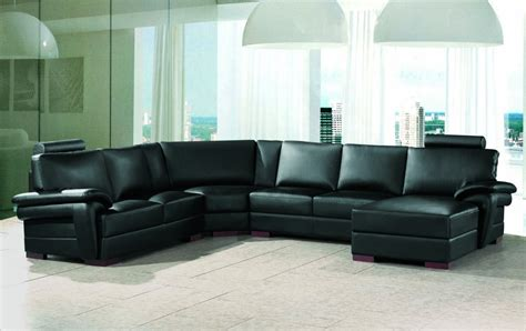 Leather Sofa Sectional 2253 Modern Black Leather Sectional Sofa