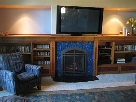 mission style fireplace mantle bookcases