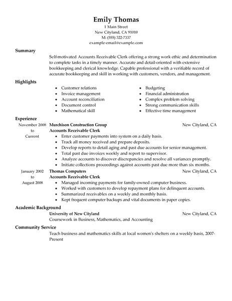 Resume Sles For Accounts Payable Best Accounts Receivable Clerk Resume Exle Livecareer