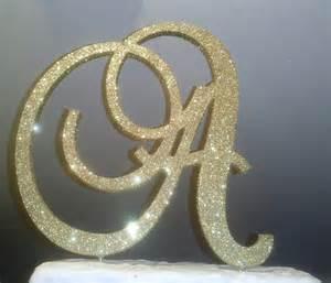 gold monogram cake topper monogram cake topper 4 inch gold glitter by itsinglitter on etsy