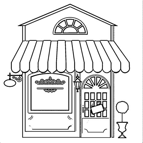 restaurant building coloring pages wecoloringpage