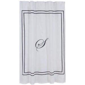 white monogrammed shower curtain monogrammed classic shower curtain ballard designs