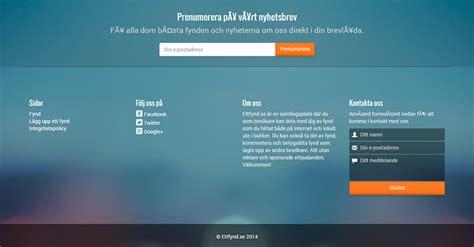 layout footer newsletter website design for ettfynd se a swedish website for deal